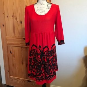 Reborn Red and Black Stretch Knit Dress